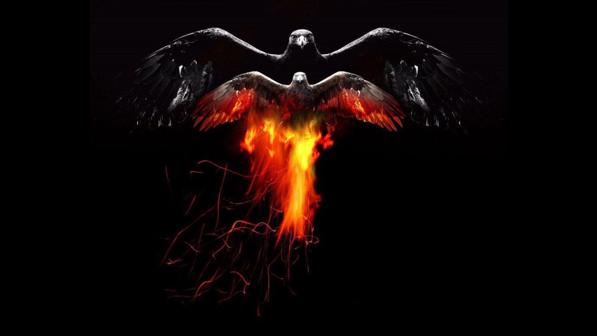 картинки ворона в огне